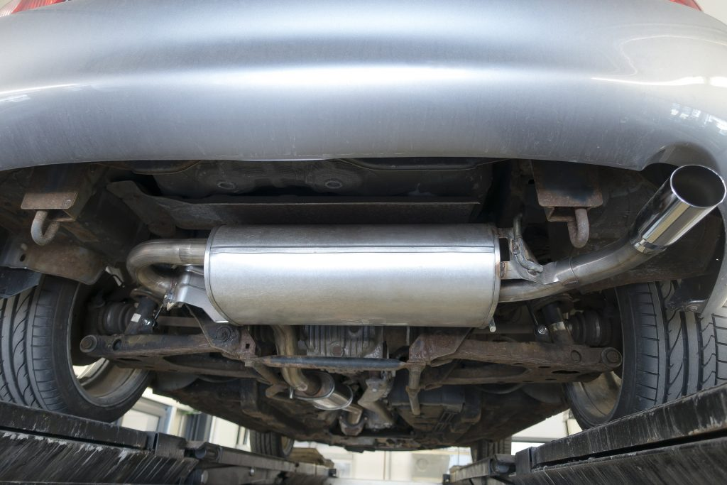 Upclose of an automobile muffler